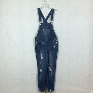 Sz 1 Almost Famous Distressed Denim Overall